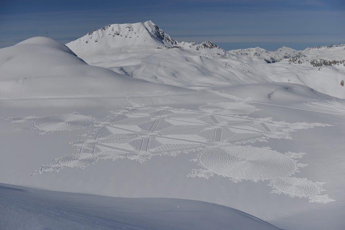 arte con nieve Simon Beck