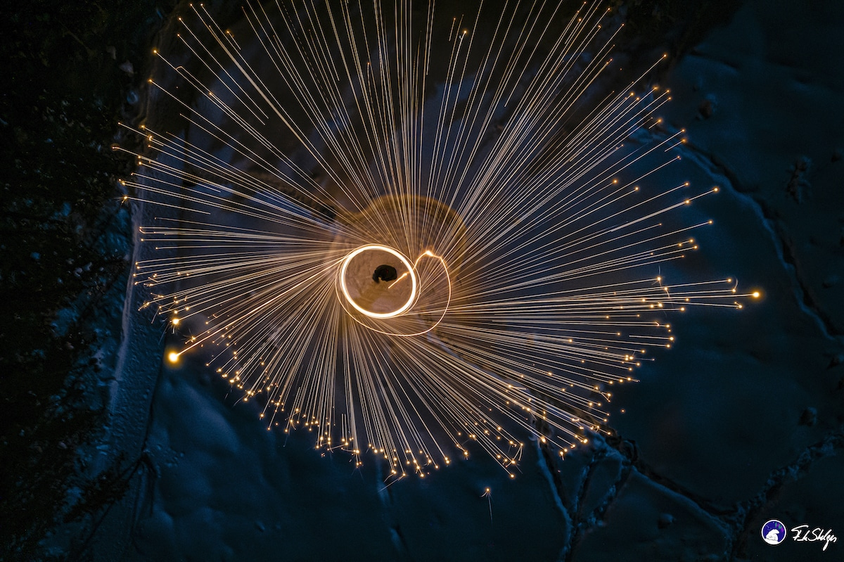 Aerial Steel Wool Photography by Frank Stelges
