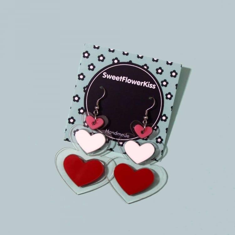Dangly Acrylic Heart Earrings