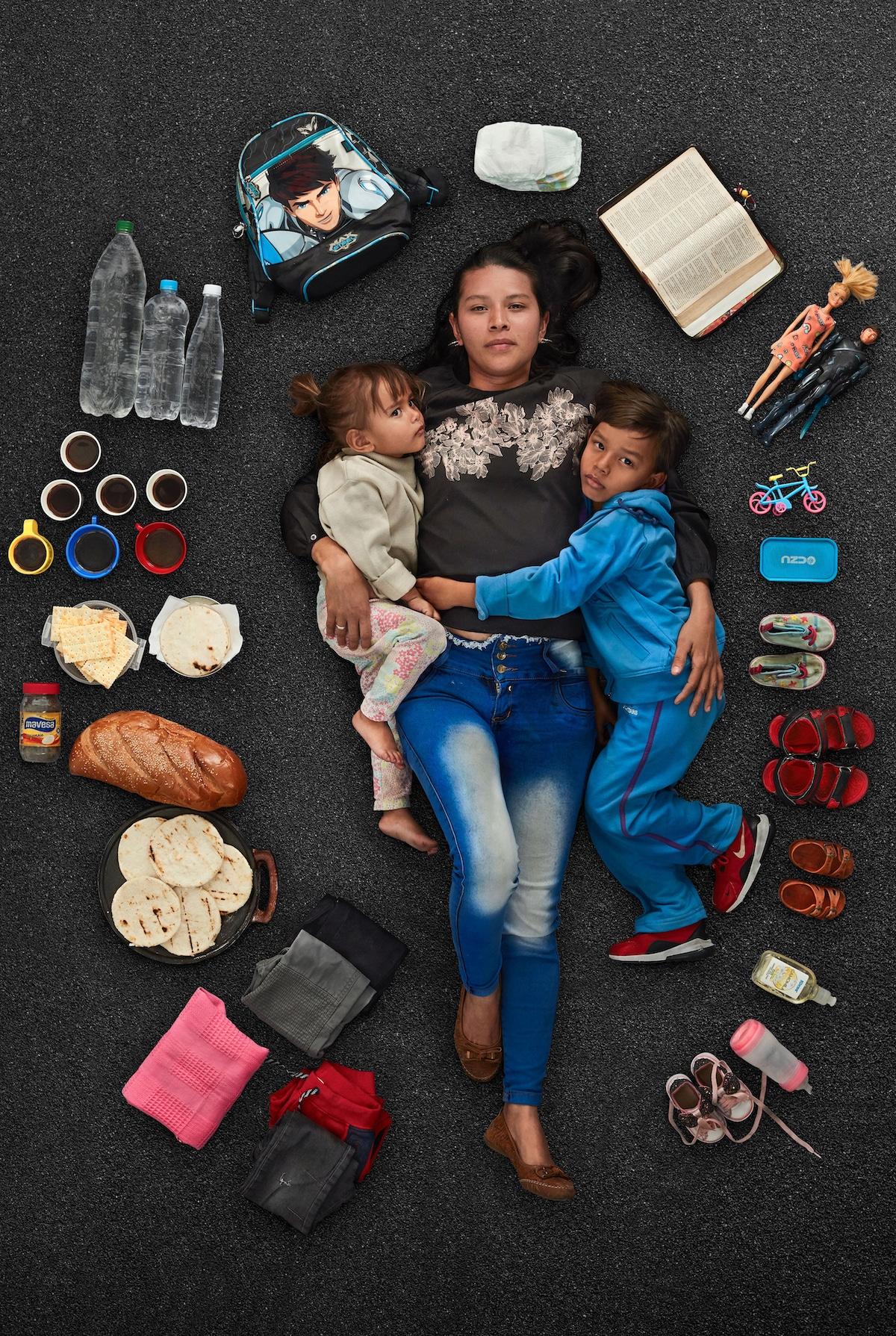 Venezuelan Refugee Mother with Her Children