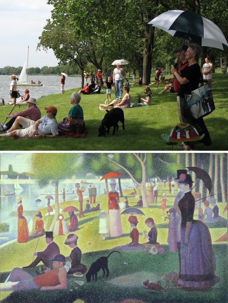 Recreación con voluntarios de una pintura de Seurat