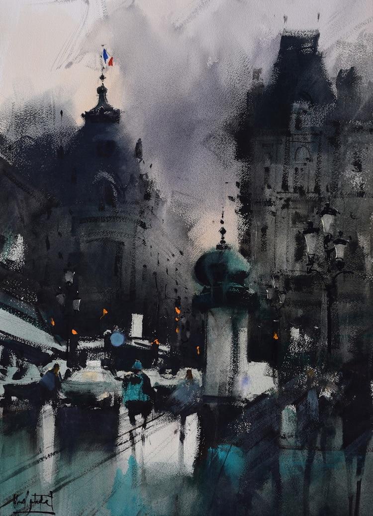 Pinturas en acuarela de ciudades de Álvaro Castagnet