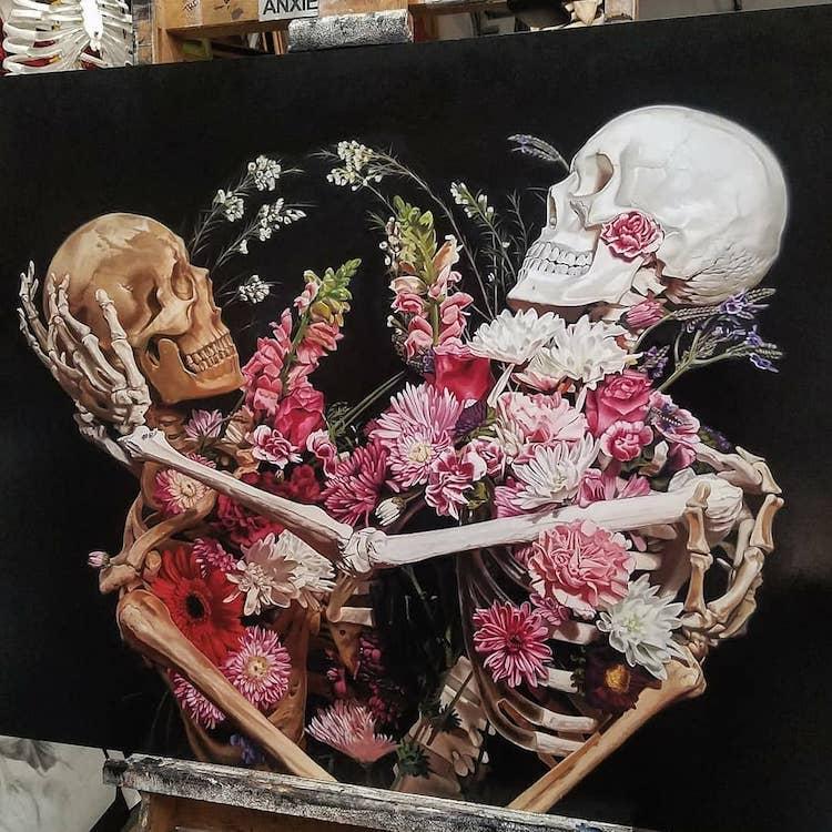 Cam Rackam Skeleton Paintings