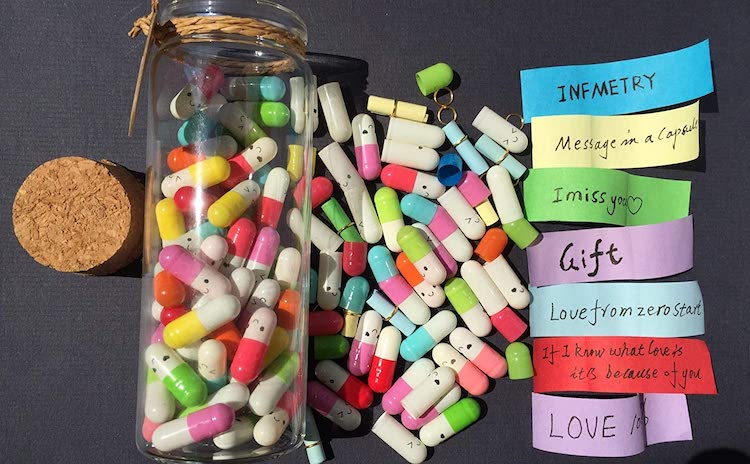 Bottle of Capsule Letters