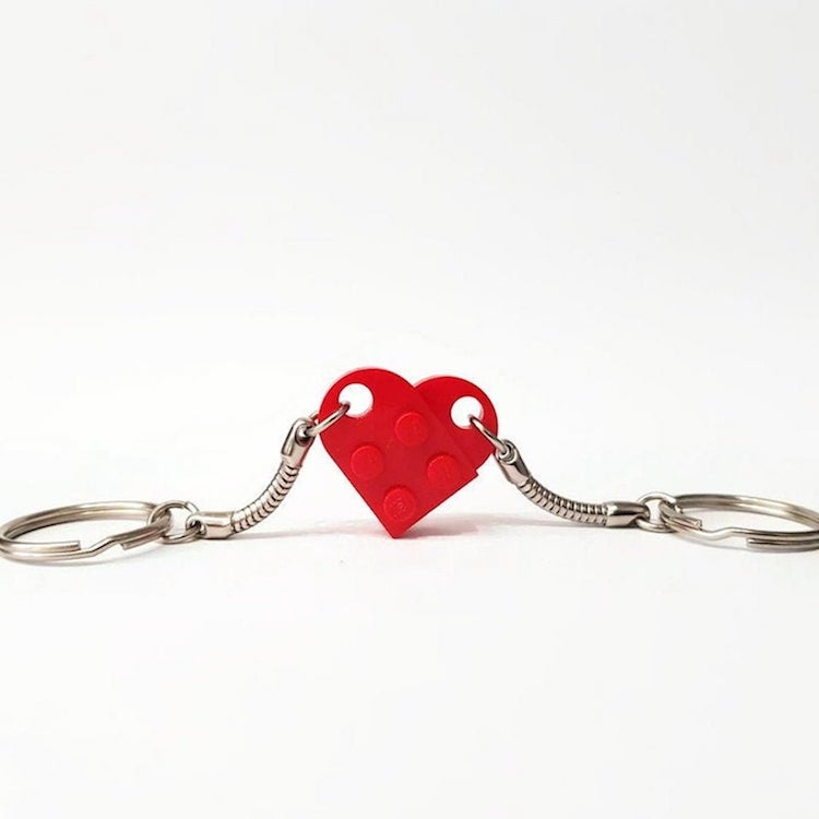 Couples Heart Shaped Keychain