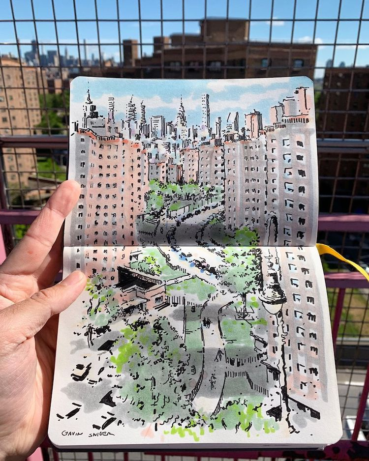 Art Urban Sketching of New York City
