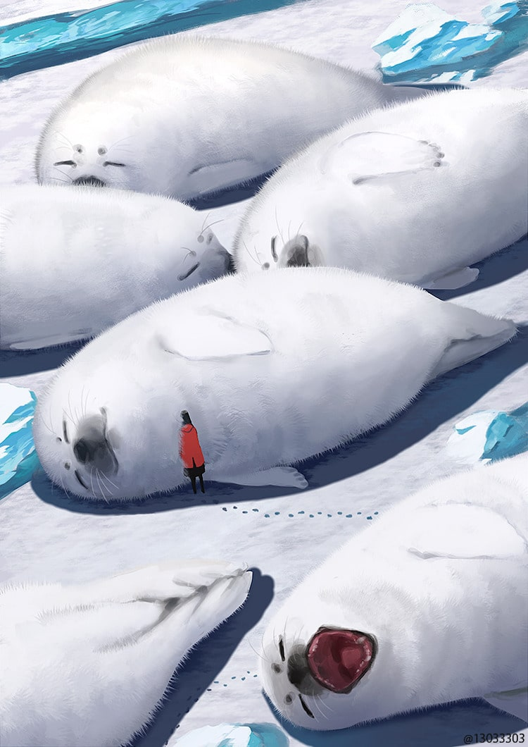 Giant Animal Illustrations by Monokubo