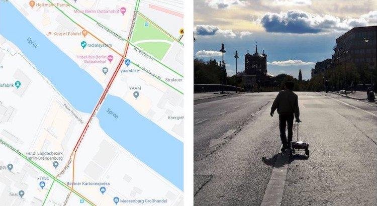 Manipulación del tráfico de Google Maps por Simon Weckert
