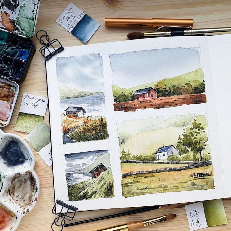 Jowita Marczuk paisajes en acuarela