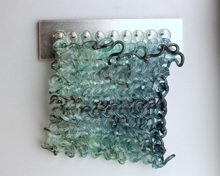 esculturas de vidrio tejido por Carol Milne