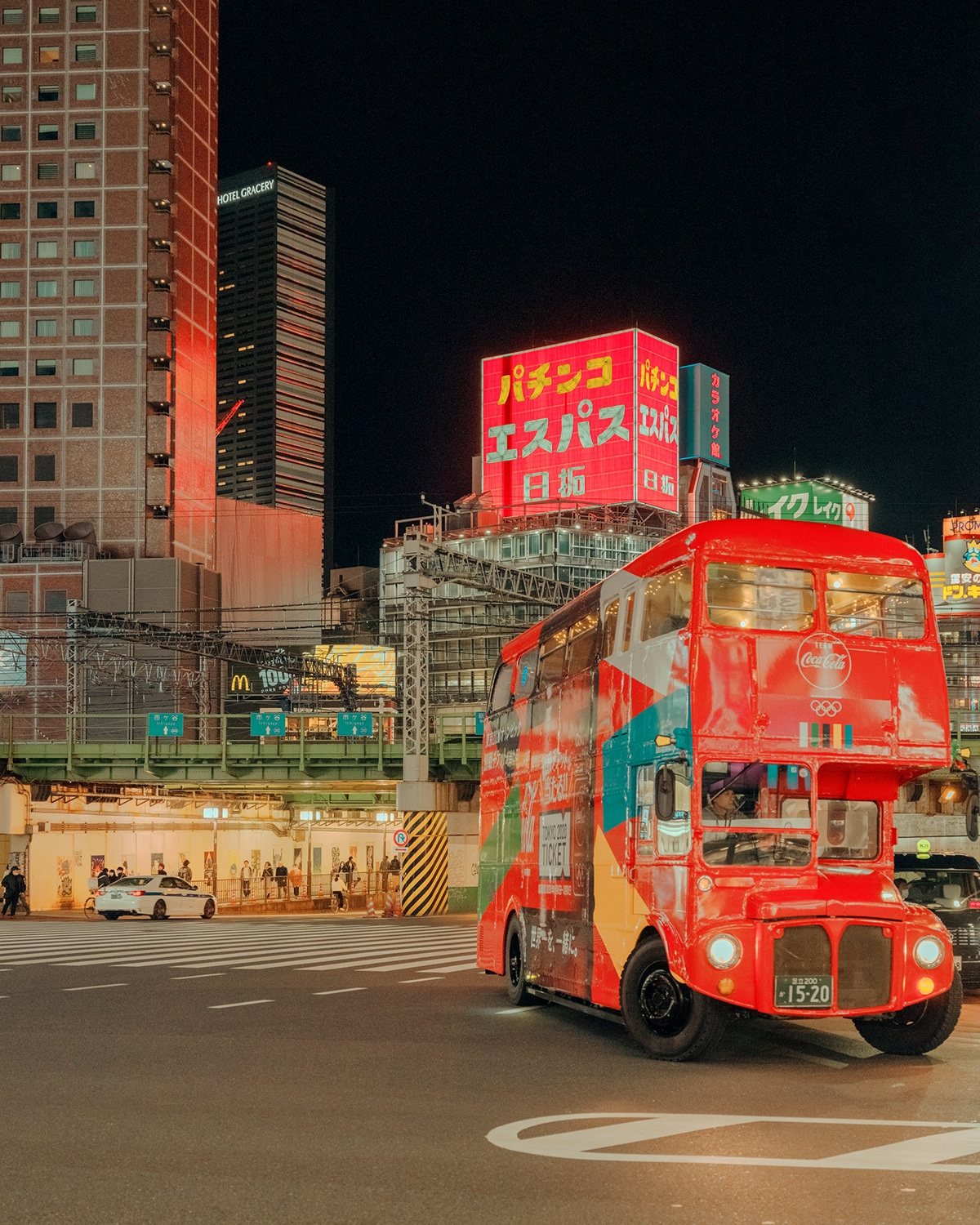 Tourist Bus in Tokyo at Night