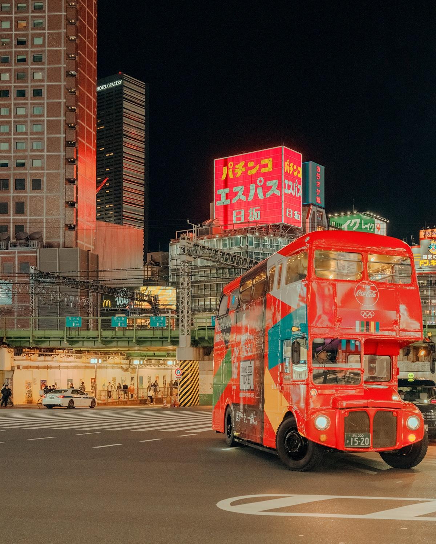 Tourist Bus in Tokyo at Night