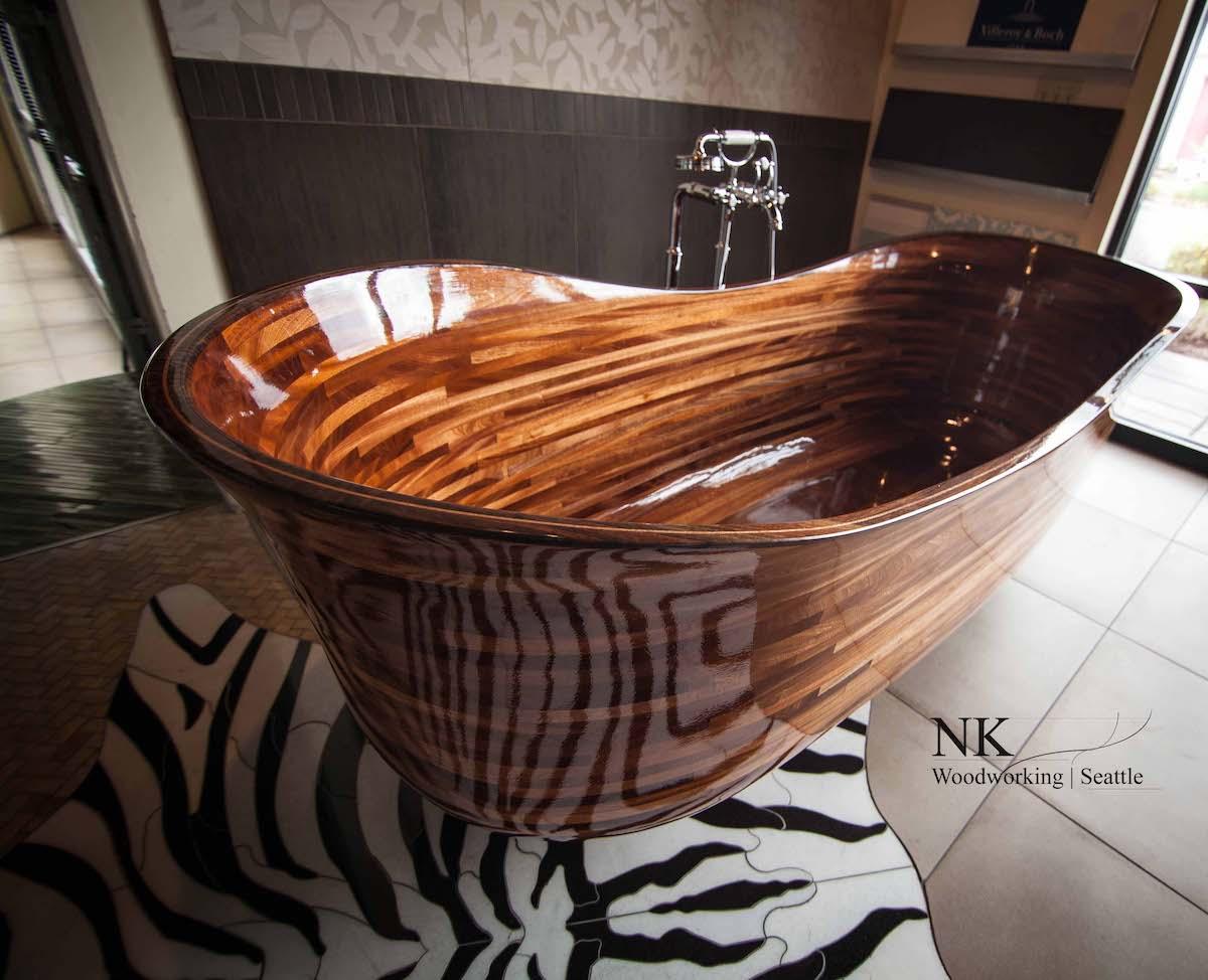 bañera de madera