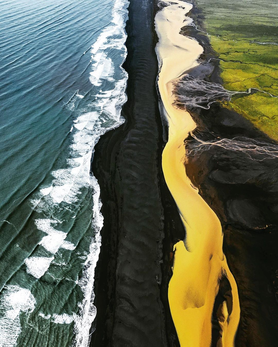 Yellow Glacial River in Iceland