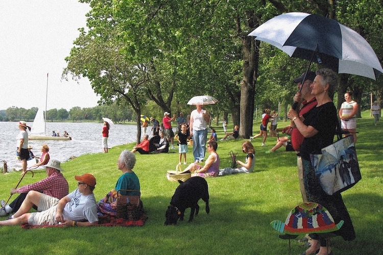 """Recreation of """"A Sunday Afternoon on the Island of La Grande Jatte"""" by Georges Seurat"""