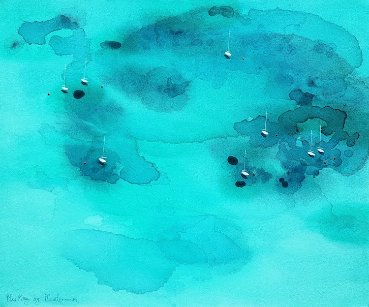 Yuliya Martynova Blue Paintings