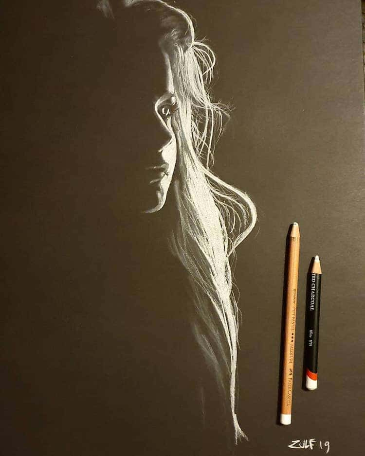 Zulf Charcoal and Pastel Art