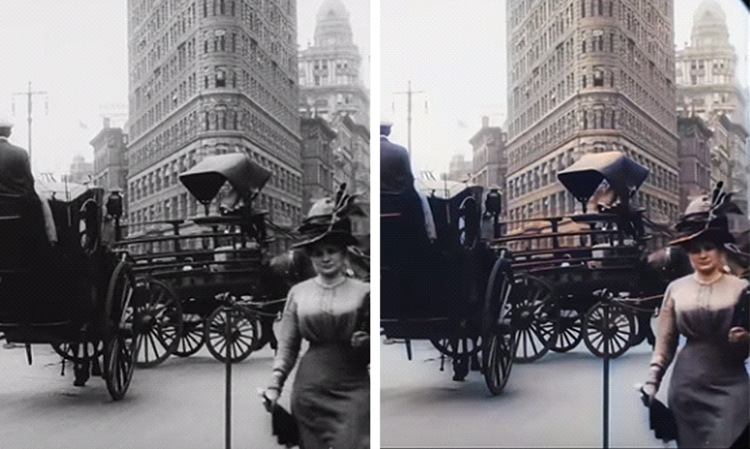 Black-and-white and Colorized Versions of Historic New York City Scene