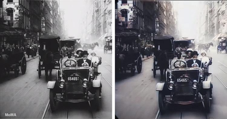 Escena de Nueva York en 1911 en blanco y negro y a color