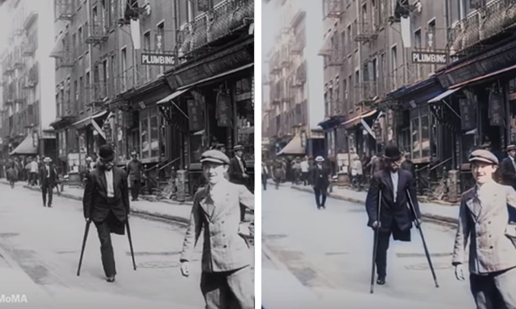 Black-and-White and Color Comparisons of Historic New York City Scenes