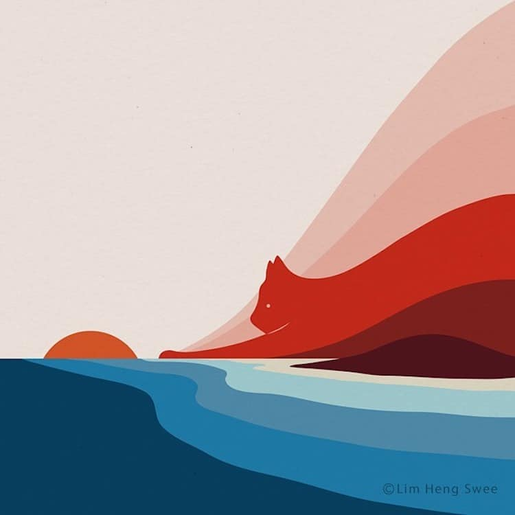 Cat Landscape Illustrations by Lim Heng Swee