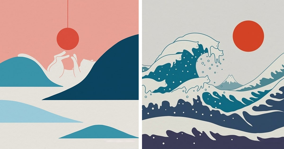 Landscape Illustrations Feature Cats Blended Within Mountains Curves