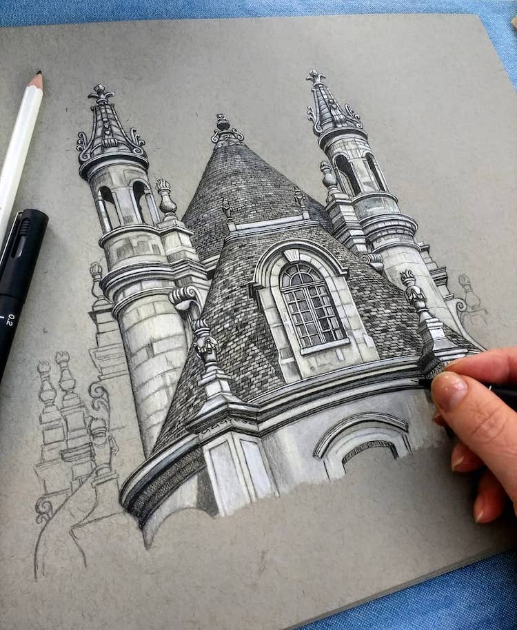 Artist Creating an Architectural Drawing