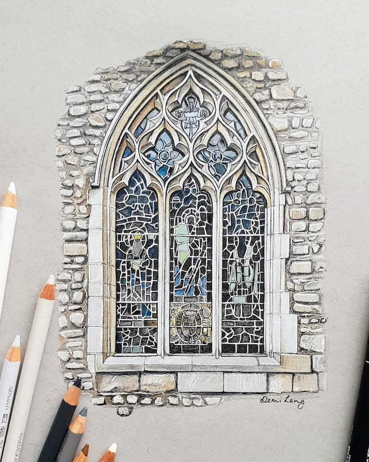 Detailed Drawing of Gothic Window