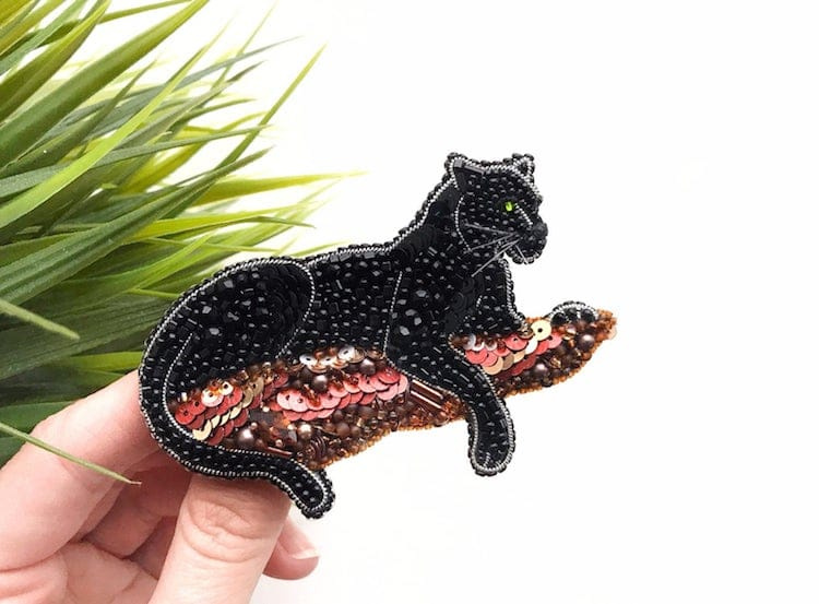 Embroidered Panther Brooch
