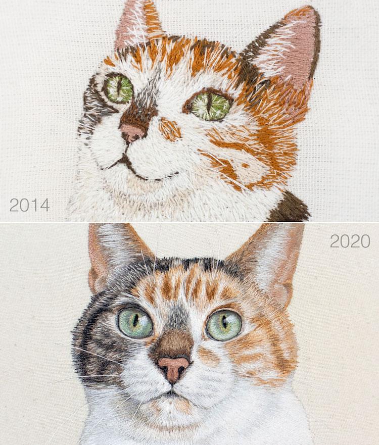 bordado de gato por Michelle Staub