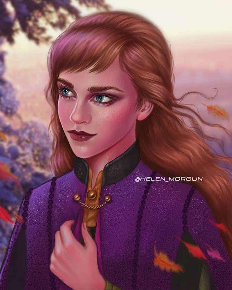 ilustracion de Emma Watson como princesa disney