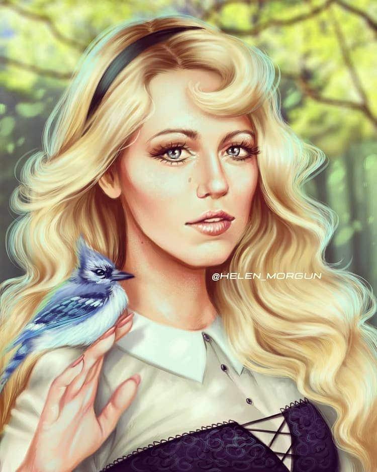 Helen Morgun ilustraciones princesas disney Blake Lively como Aurora