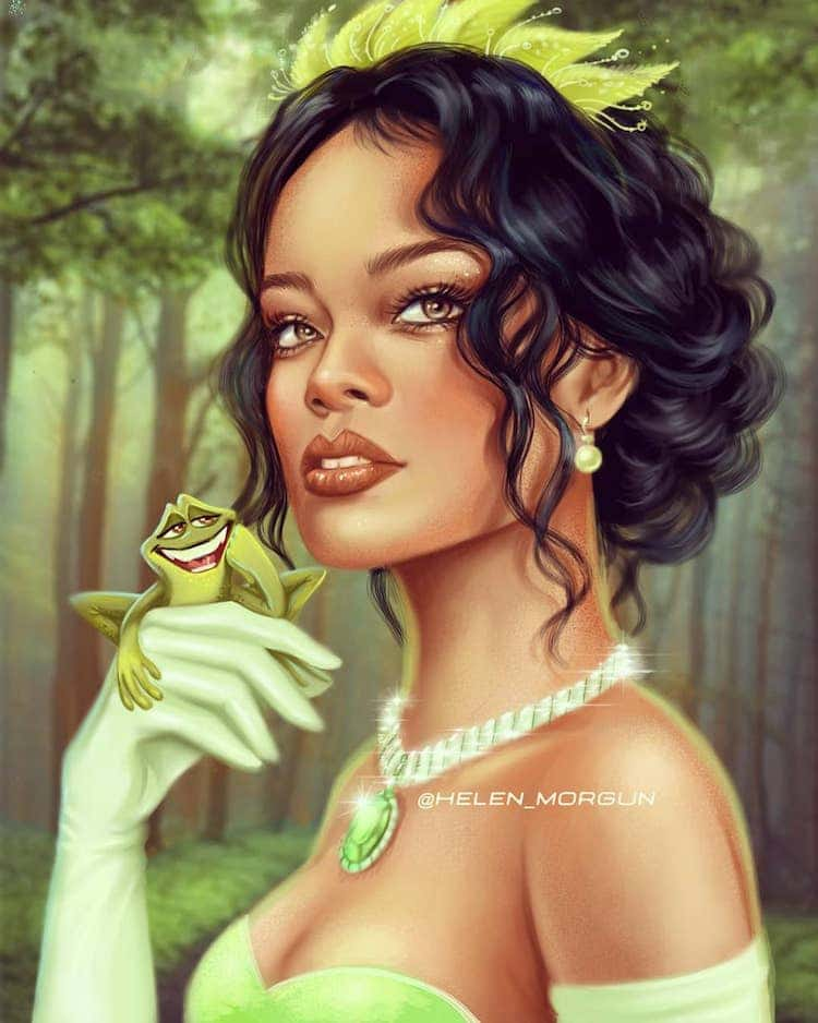 ilustracion de rihanna como princesa disney