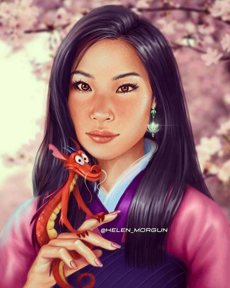 ilustraciones de actrices como princesas disney mulan