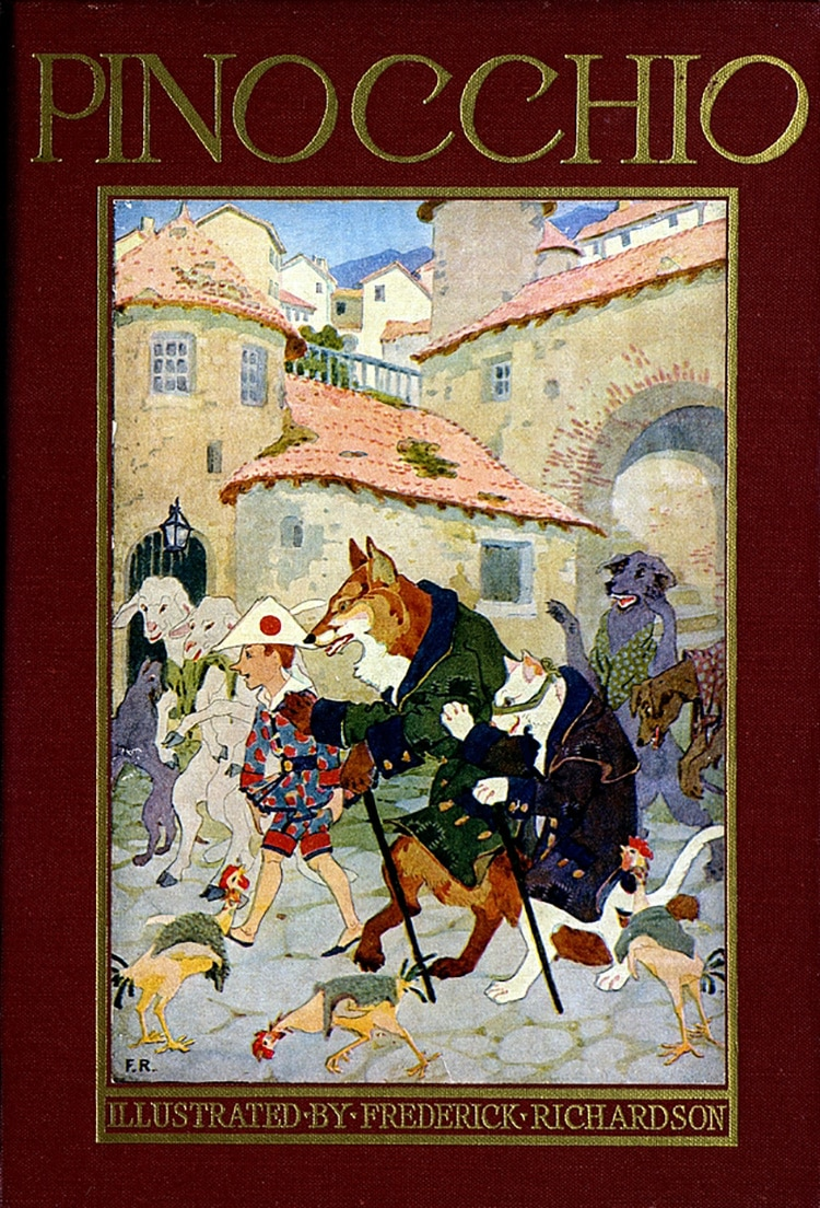 cover of historic pinocchio book that shows a boy and a few wild animals in a city square