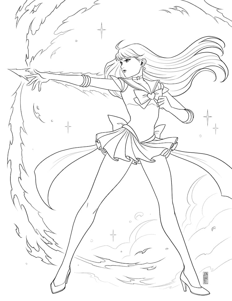 dibujos kawaii para colorear de sailor moon por Jen Bartel
