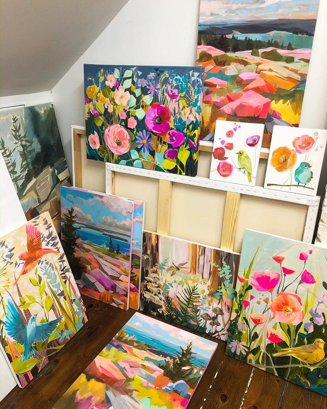 Coloridas pinturas de paisajes de Jess Franks
