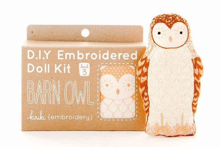 Barn Owl Embroidery Kit by Kiriki Press