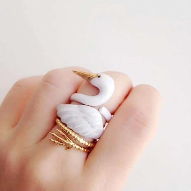 Crane Ring by Mary Lou