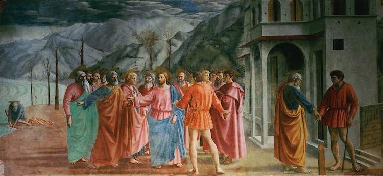 Tribute Money Fresco Painting by Masaccio