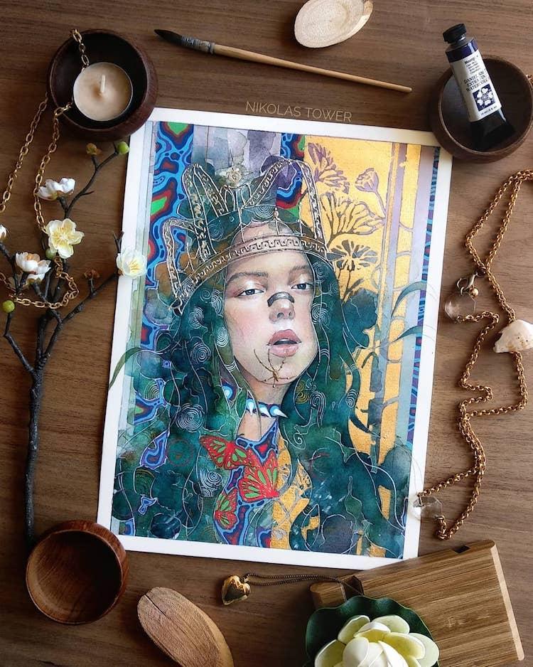 Nikolas Tower Golden Fantasy Illustrations