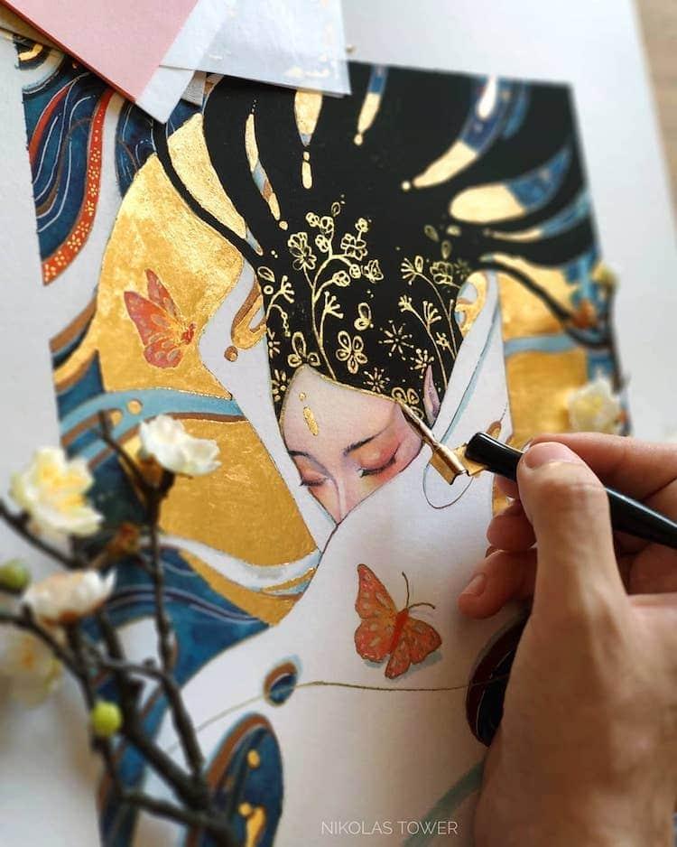 Nikolas Tower Golden Illustrations