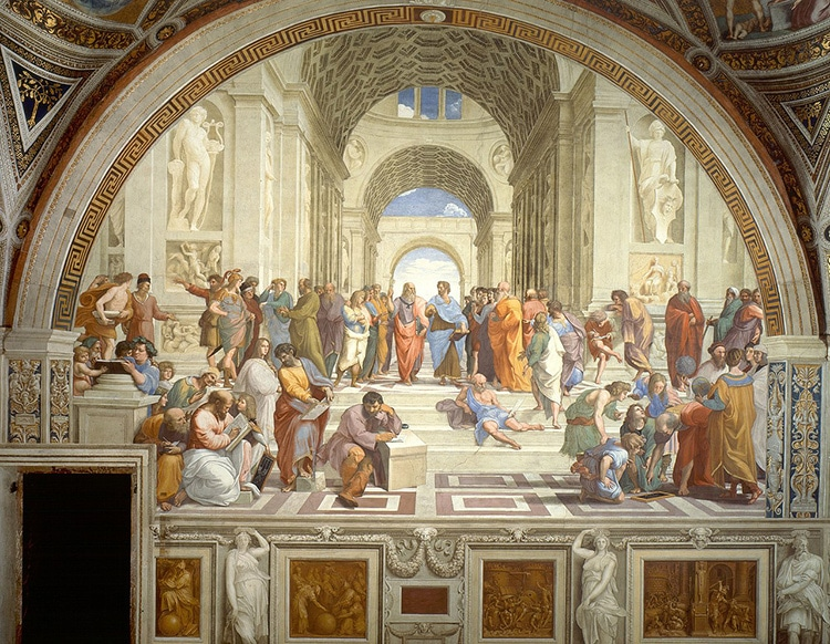 a painting of a group of ancient Greek men standing around listening to a man in the center lecture about philosophy
