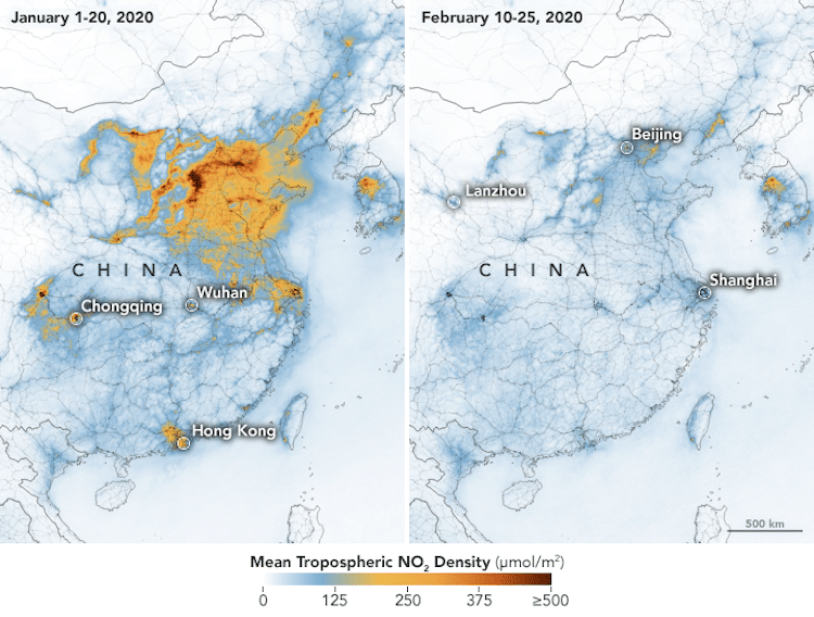 Pollution Drop in China Due to Coronavirus