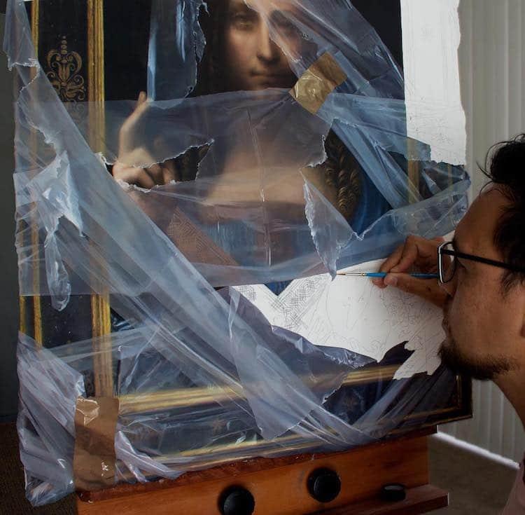 pinturas con ilusion optica de plastico por Robin Eley