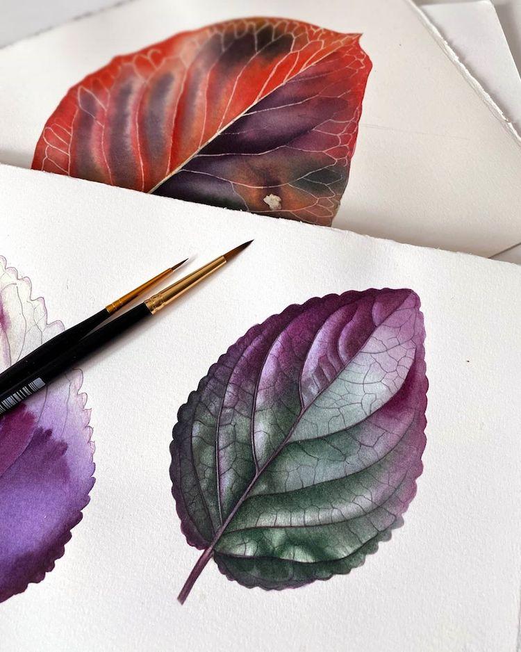 Dipinti ad acquerello iperrealistici ricreano perfettamente la delicata bellezza di fiori e piante di Svetlana Lanse