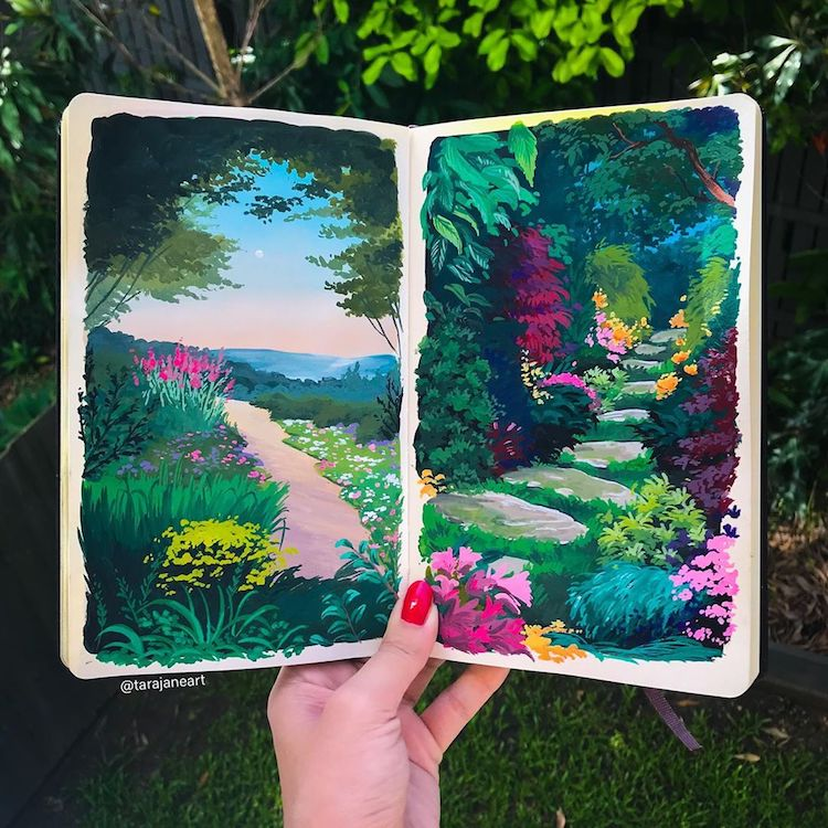 Artist Fills Her Sketchbooks With Vibrant Landscape Paintings Inspired by Studio Ghibli Films