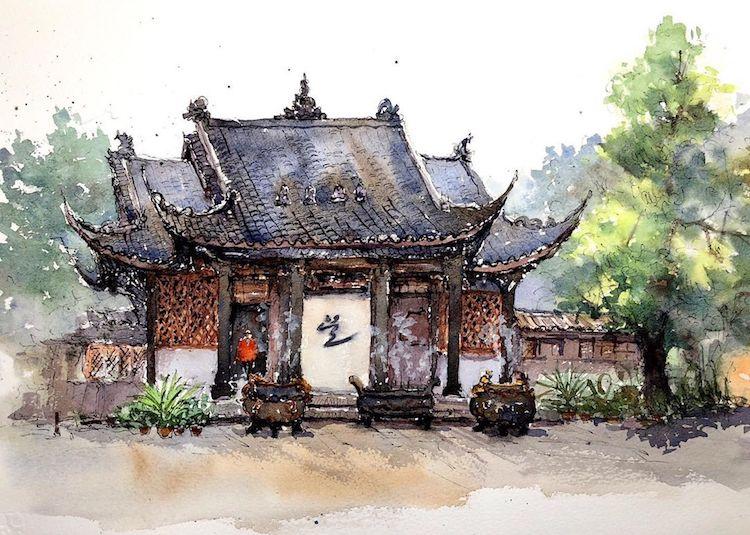 Watercolor Paintings by Qian Shi