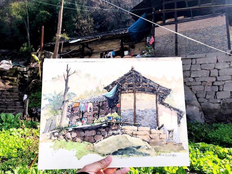 pinturas con acuarelas Qian Shi
