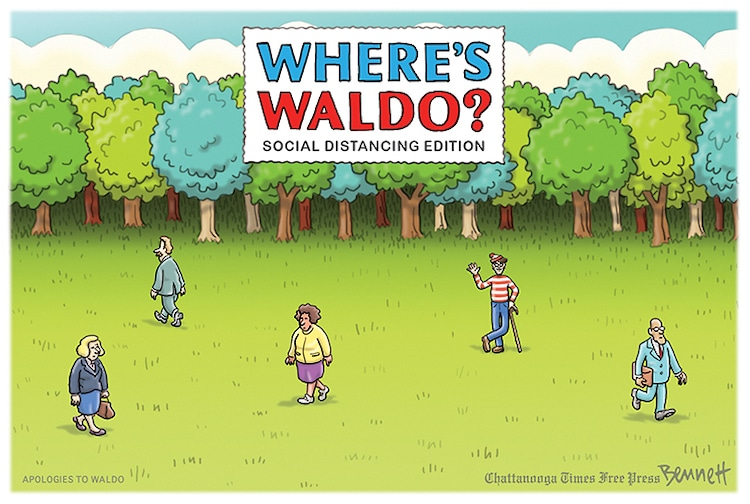 Cartoonist Reimagines 'Where's Waldo' in the Age of Social Distancing